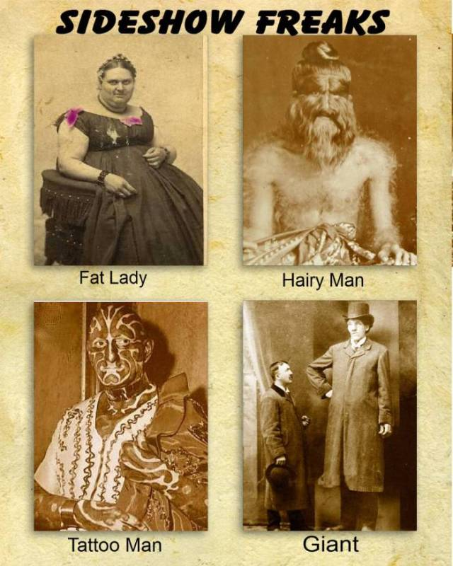 sideshow freaks fat lady hairy man tattoo man giant