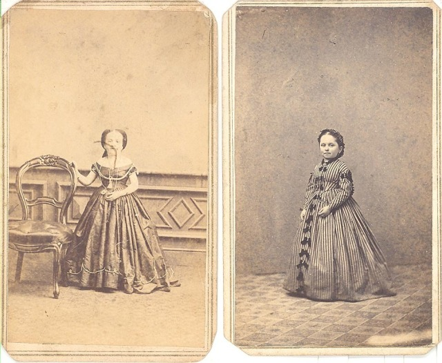 1860s CDV PHOTO LOT CIRCUS SIDESHOW DWARF LITTLE PERSON DUO WOMEN
