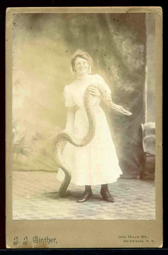 1890's Python Snake Woman Emma Pearly Circus Sideshow