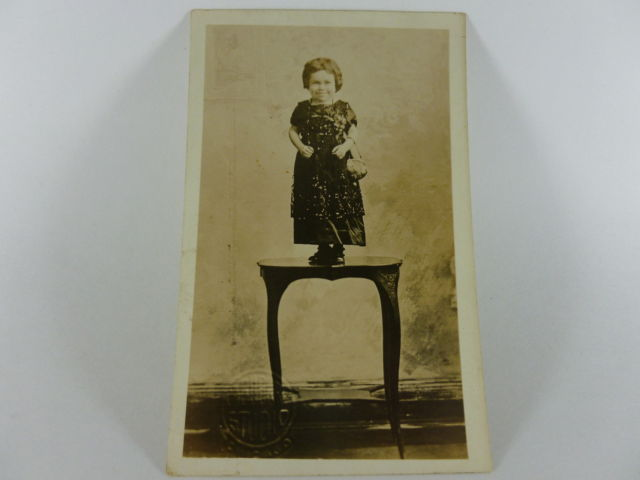 1900's Vintage Postcard Side Show Tiny Miss Adams Allentown Circus