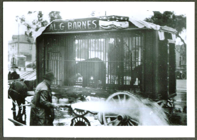 Al G Barnes Circus hosing bear cage photo 1921