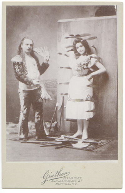 Cabinet Card of Unknown KnifeThrower with Conchita by GINTHER of Buffalo, NY circa late 1880s.