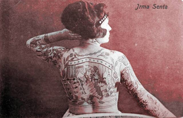 Circus Sideshow Freak Tatooed Woman  1892   adjusted