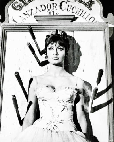 sideshow knife thrower   in Marisa Mell in Masquerade (1965