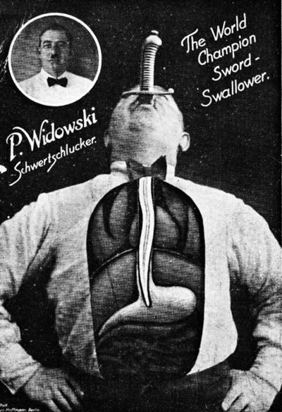 sideshow P. Widowski The World Champion Sword Swallower  1900s