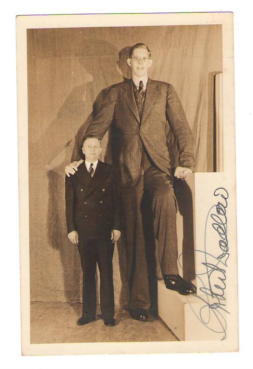 sideshowRobert Wadlow signed photo postcard 1939
